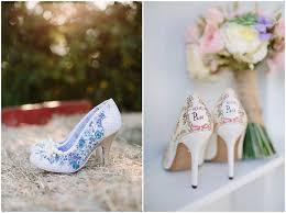 Pearl Blue Floral Patterned Hing Heels Vintage Rustic Wedding Shoes