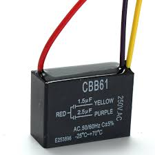 Cbb61 Ceiling Fan Capacitor 5 Wire by 1pc Black Fan Capacitor Cbb61 1 5uf 2 5uf 3 Wires Ac 250v 50 60hz