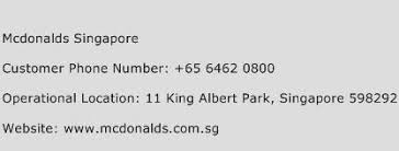 Mcdonalds Singapore Phone Number Customer Service