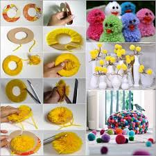 Learn How To Make Pom Poms And Craft Decorative Items From Them Within Handmade Things For Decoration Step By
