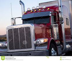 Red American Long Haul Big Rig Semi Truck With Accessories Stock ...