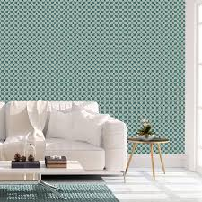 retro ornamenttapete deko lilly in blau design tapete für schlafzimmer