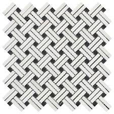thassos stanza mosaic tile with black dots honed 12x12