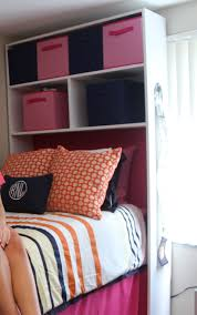 Dorm Room Bed Skirts by Diy Dorm Cubby With Foam Headboard We Built And Painted The