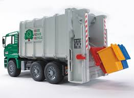 Buy Bruder 2764 MAN TGA Rear Loading Garbage Truck, Green/White ...