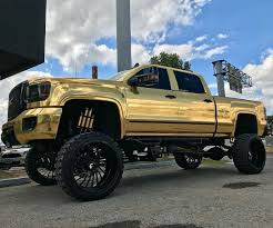 100 Custom Lifted Trucks GMC_Denali Forgiato_Wheels Gold Modified W