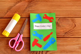 Download Happy Fathers Day Greeting Card With Paper Tools Scissors Glue Kids