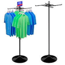 4 Hook Economical T Shirt Display On Round Floor Base