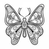 Zentangle Vector Black Butterfly For Adult Anti Stress Coloring Stock Illustration