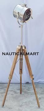 royal designer nautical chrome spot light modern teak wood tripod