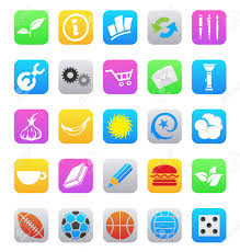 Mobile App Icons Isolated A White Background Royalty Free