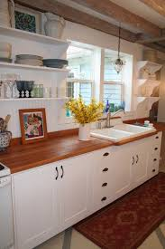 Bead board back splash and open shelving Mulberry Hill Farm