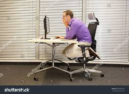 Ergonomic Kneeling Posture Office Chair by Text Neck Man Slouching Position Kneeling Stock Photo 383628079
