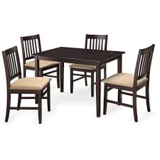 5pc Espresso Dining Room Kitchen Set Table 4 BROWN Microfiber Chairs