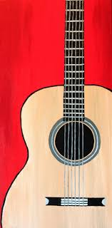 12 X 24 Original Acoustic Guitar Painting Colorful Red Background Wood On Museum Quality Gallery Wrapped Canvas