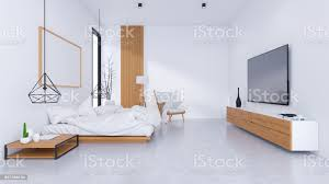 modern loft interior of bedroom design and cozy style white bed with wooden bedside on concrete floorand frame mockup 3d render stock photo