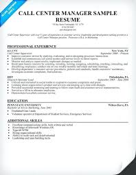 Example Of Resume In Call Center Plus Centre Samples To Produce Amazing Manager 897