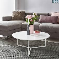 design couchtisch mdf holz weiß matt gestell metall ø 80 cm wohnzimmertisch modern sofatisch rund weiß wohnling