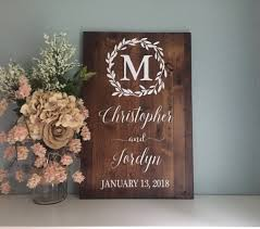 Wedding Welcome Sign Entrance Laurel Wreath Name And Date Rustic Decor Wood Country Wedd