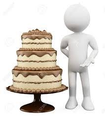 3d weiße person mit einem riesigen kuchen mit schokolade und keks 3d bild isoliert weißen hintergrund