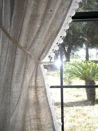 Smocked Burlap Curtain Panels by Burlap Curtains With Pom Fringe Home U003c3 Pinterest Burlap