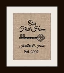 Personalized Housewarming Gift On Burlap Home Address Sign New House First