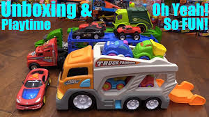 Toy Cars And Trucks For Children: Kid Connection Car Carrier Truck ... Prtex 60cm Detachable Carrier Truck Toy Car Transporter With Product Nr15213 143 Kenworth W900 Double Auto 79 Other Toys Melissa Doug Mickey Mouse Clubhouse Mega Racecar Aaa What Shop Costway Portable Container 8 Pcs Alloy Hot Mini Rc Race 124 Remote Control Semi Set Wooden Helicopters And Megatoybrand Dinosaurs Transport With Dinosaur Amazing Figt Kids 6 Cars Wvol For Boys Includes Cars Ar Transporters Toys Green Gtccrb1237