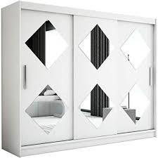 kryspol schwebetürenschrank caro 250 cm mit spiegel kleiderschrank mit kleiderstange und einlegeboden schlafzimmer wohnzimmerschrank schiebetüren