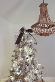Glittered And Jewelled Christmas Tree Flocked With Bow Topper