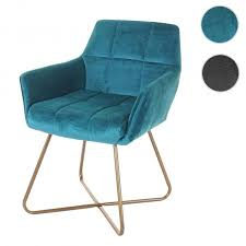 esszimmerstuhl hwc f37 stuhl küchenstuhl retro design samt goldene füße petrol