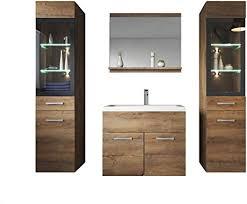 badezimmer badmöbel set xl led 60cm waschbecken lefkas braun unterschrank 2x hochschrank waschtisch möbel
