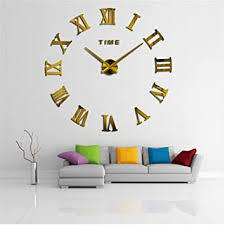 wanduhr zum selbermachen 3d design riesengroß modern rund mit römischen ziffern für dekoration wohnzimmer büro goldfarben