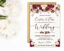 Rustic Floral Wedding Invitation Autumn Flower Invite Watercolor Fall Flowers Marsala Burgundy