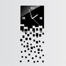 Free Shipping Simple Square BLACK LUXURY 3D Wall Clock Home Decoration Crystal Mirror Clocks Art Watch HOT DESIGN