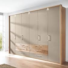 disselk cadiz schlafzimmer drehtürenkleiderschrank korpus balkeneiche echtholz furniert front hochglanz taupe mit absetzungen in riffholz