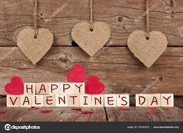Happy Valentines Day Wooden Blocks Rustic Heart Decor Wood Background Stock Photo