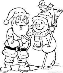 Snowman Santa Coloring Page