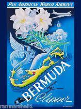 Bermuda Mermaid Caribbean Pan American Vintage Travel Advertisement Art Poster