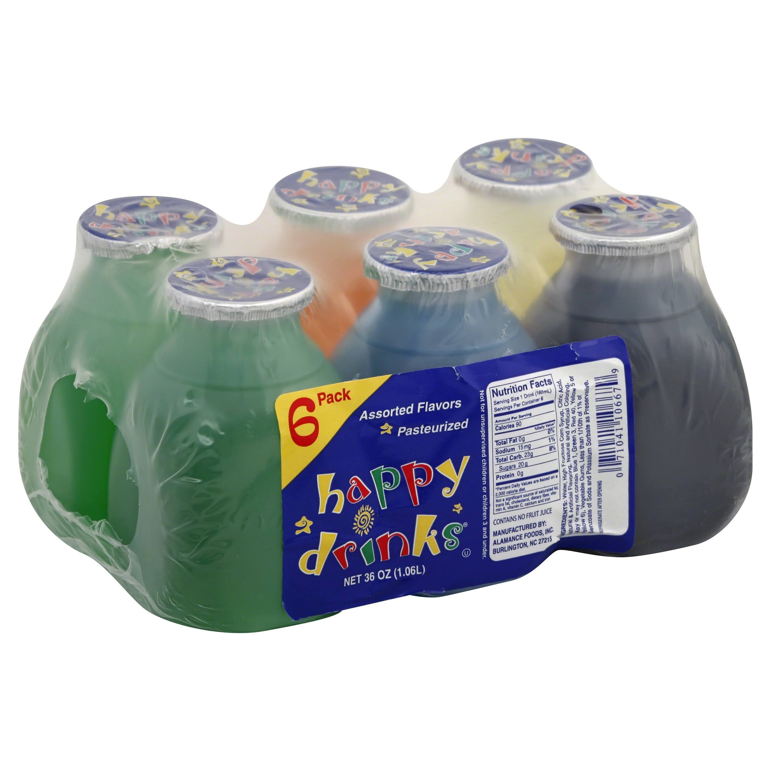 Happy Drinks Flavored Drinks, Assorted Flavors - 6 drinks, 36 oz
