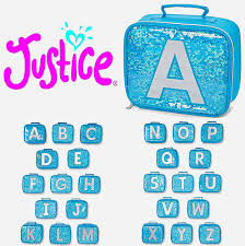 New Justice Girls Turquoise Blue Sequin Initial Lunch Bag Box Tote All Initials