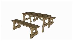 picnic table with separate benches plans youtube