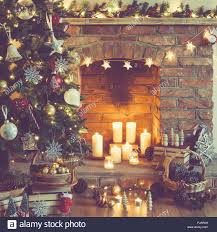 Christmas Setting Background Decorated Tree Decorations Pine Cones In The Basket Fireplace On Candles And Lights Selectiv