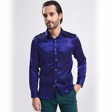 12 colors mens stylish formal satin shirt luxury casual t shirts