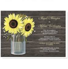Rustic Sunflower Wood Mason Jar Reception Only Invitations