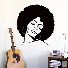 kunst günstige vinyl home dekoration afro haar silhouette wand aufkleber abnehmbar haus dekor mode dame decals in schlafzimmer oder shop