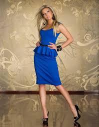 blue fashion peplum midi dress with belt wonder beauty lingerie