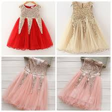 2018 Christmas Girls Dresses 2015 Sequin Dress Bling Girl Summer Party Clothes Lace Tutu Gold Red Pink From The One