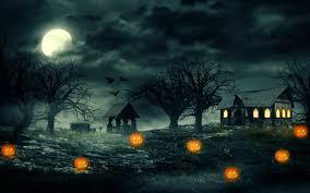 Halloween Night Pumpkins Haunted House Scary Widescreen Wallpaper