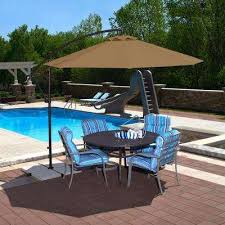 Octagonal Cantilever Patio Umbrella In Stone Olefin