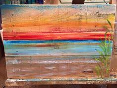 Ocean Beach Scape Pallet Art Nautical Reclaimed Wood Summer Vacation House Painting
